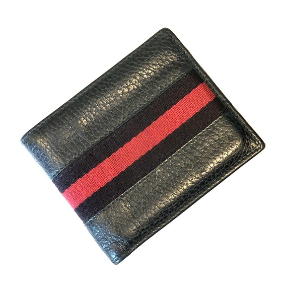 Gucci Other - Gucci Pebbled Leather Stripe Wallet